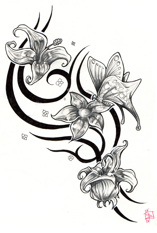 tatouage fleurs papillonjpg tattoo tattooskid. Black Bedroom Furniture Sets. Home Design Ideas